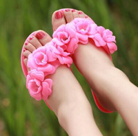 Wholesale Women Smallest Thong - 2016 new summer camellia flat jelly slippers thong flip-flops Small fragrant flower beach sandals shoes gift US5.5-7.5 drop shipping