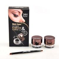 Wholesale Powder Eyeliner Pencil - 2pcs set MusicFlower MakeUp set Waterproof Eye Liner Eyeliner Cream+Eyebrow Powder 2 Colors set Cosmetic set with eyebrow pencil free ship