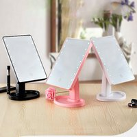Make Up LED Mirror 360 Degree Pantalla táctil de rotación Make Up Cosmetic plegable Portable Compact Pocket con luz LED Makeup Mirror MR721