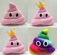 poop emoji kissen großhandel-Neue 35cm emoji Plüschspielwaren Kissen-Kissenkarikatur 14 Zoll kacken Plüschtier-Kissenpuppen-Kronenrosa-Regenbogenfarbe EMS C804