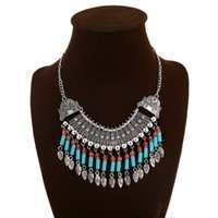 Wholesale Silver Chain Sellers - 159610 Bohemian Vintage Long Square Turquoise Bib Statement Necklaces 2016 Best Sellers Multi Color Alloy Tassel Chokers Necklace For Women