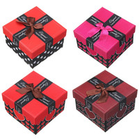 Wholesale Jewellry Gift Boxes Wholesale - Wholesale-Square Gift Case Heart Pattern Paper Jewellry Box Earing Ring Bracelet Presents Boxes Packsging Cases Bow 8.9x8.9x5.7cm