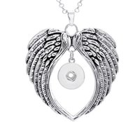 Wholesale Metal Charms Pendants Wings - 20Pcs 2016 metal ginger snap button jewelry boho wings pendant Necklace for women (fit 18mm snaps) men's Vintage accessories