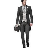Wholesale Jacket Vest Tie Set - 2016 Tailored Elegant Bridegrom Gray morning suit Wedding tuxedo for men groomwear 5 pieces suits set (jacket+pants+vest+Tie)