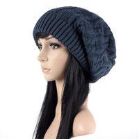 Wholesale Girls Sweater Knit Pattern - Mix color Cute Women Knitted Caps Twist Pattern Women Winter Hair Hat Sweater Skullies & Beanie Hats BA498
