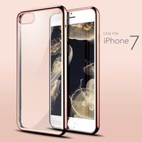 Wholesale Iphone Crystal Bumper Cases - for iPhone 7 Case Crystal Clear Soft TPU Gel Shockproof Cover iPhone 7 Plus Ultra Thin Slim Plating Bumper Cases for Mobile Phone
