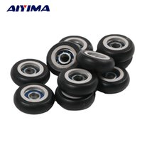 Wholesale Furniture Bearing - Wholesale- 10pcs Plastic Coated Tire Wheel Arc Ball Bearing for Furniture Pulley 5*23*7.5mm