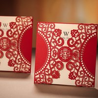 Wholesale Convite Casamento Laser - Wholesale- Free Shipping 10pcs Chinese Laser Cut Red Wedding Invitations Wishmade Convite Casamento Event & Party Supplies CW506