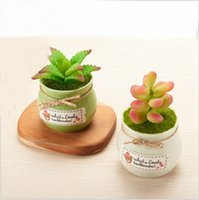 Indoor Simulation Potted Plant Dish Landscape Decoration Mini Ceramic  Circular Cylinder Agave Prickly Pear Artificial Flower