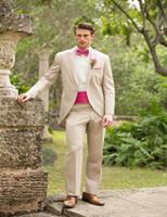 Wholesale Suits Cummerbunds - Wholesale- 2017 Beige Cutaway Tuxedos With Single Button Notch Formal Dinner Tuxedos Slit Fit Bridegroom Men Suits With Cummerbund 2 Pieces