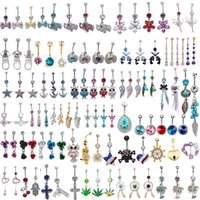 Wholesale Belly Button Ring 14g Surgical - 100Pcs Mixed style Ombligo Belly Button Ring Rhinestone Pendant 316L Surgical Steel 14G Navel Tragus Body Jewelry