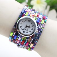Wholesale Secret Hands Free - Free Shipping Women New Design Fashion Hand-made Circum Colorful Chain Bracelet Watch Lady Quartz Wristwatch