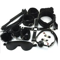 Wholesale Sex Sets - 10 pcs BDSM Bondage Restraints Set Kit Handcuffs Nipple Clamp Ball Gag Cuff Whip Collar Fetish Erotic Sex Toy Couples