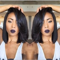 Wholesale Ladies Short Wigs - Hot Selling Brazilian 9A Bob Cut Wigs Human Hair Bob Full Lace Wig For Black Women Full Culticle Short Bob Full Lace Wig