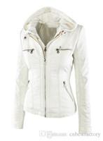 Wholesale Womens Leather Bomber Jackets - 2016 New Winter Womens Leather Faux Leather Jackets Fashion Brand Waterproof Windproof Warm Coat Bomber Jacket Ski SoftShell Down Suit 2358#