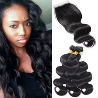Body Wave 3Bundles avec fermeture à lacets 7A Raw Virgin Hair Natural Black Double Drawn Weaves Packs de cheveux pour la vente en gros Wet Wavy Human Hair