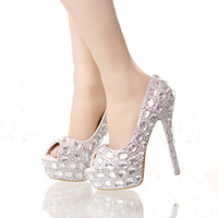 Wholesale Super High Platform Pumps - Handmade Silver Diamond Wedding Shoes Peep Toe Platforms Rhinestone Prom Party Shoes Super High Heel Stilettos Bridal Shoes
