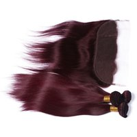 Wholesale Wine Hair Color - Top 9A Indian Human Hair Wine Red With Frontals #99J Burgundy 3Bundles With Lace Frontal Closure 13x4 Silky Straight Weaves With Frontal