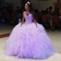 tatlım arkalıksız balo elbisesi toptan satış-Lavanta Balo Quinceanera Modelleri Sevgiliye Boyun Kristaller Backless Balo Abiye Tül Payetli Rhinestones Tatlı 16 Elbise