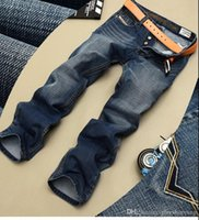 erkekler için moda ayakkabı kot toptan satış-Yüksek Kalite Marka Erkek Kot Moda Yırtık Kot Erkekler Düz Fit Kot, Boyutu 28-40