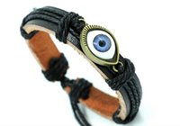 Wholesale Vintage Thanksgiving Turkeys - Vintage leather bracelets unisex Turkey blue eyes bracelets gifts for lovers hand jewelry Korean style