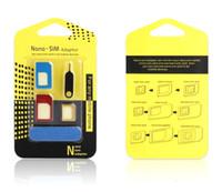 ingrosso telefoni cellulari iphone 6s-Adattatori nano sim di alluminio in metallo Sim Card 5 in 1 Micro Sim Stander Sim Card Tool per iPhone 6s 5s Tutti i telefoni cellulari con scatola al dettaglio
