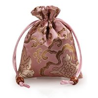 Wholesale Rich Jewelry - Thicken Rich Flower Small Drawstring Bag Silk brocade Gift Packaging Pouch Jewelry Makeup Tools Perfume Coin Trinket Candy Storage Pocket