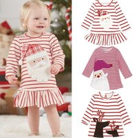 Wholesale Boutique Clothes For Girls Wholesale - 2017 Christmas Girls Baby Childrens Dresses Snowman Striped Princess Dress for Girls Clothing Xmas Cotton Dresses Boutique Clothes