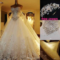 Wholesale Crown Picture - Custom MadeLuxury Crystal Wedding Dresses Lace Cathedral Lace-up Back Bridal Gowns 2016 A-Line Sweetheart Appliques Beaded Garden Free Crown