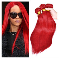 Wholesale Red Hair Wefts - Silky Straight Brazilian Red Hair Extensions 9A Virgin Brazilian Hair Double Wefts Red Color Virgin Hair Weave Bundles 3Pcs Lot