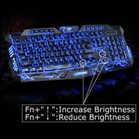 Wholesale Multimedia Led Keyboard - 100% Original M200 LED Keyboard 3 Colors Crack Illuminated USB Multimedia PC Gaming Gamer Game keyboards Adjustable LED Backlight