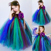 Wholesale Girls Peacock Ball Gown - 2016 The New Peacock Theme Dress Baby Girl Party Wedding Flower Girl Dress Christmas Pageant Ballgown Kids Pageant Dresses Princess Dresses