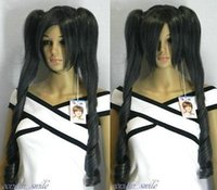 Wholesale Miku Hatsune Wig Curly - Free Shipping Heat Resistant >>>>Fashion Long Curly Black Grey Mix Miku Hatsune Cosplay Wig + 2 Ponytails H-01