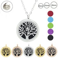 Chaussure de vente en gros comme cadeau! Fashion Magnetic 316L Stainless Steel Tree of Life 20mm, 25mm, 30mm Parfum Locket Aromatherapy Locket Pendant