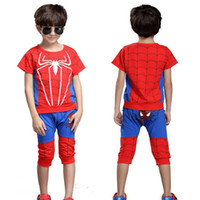 Wholesale Kids Piece Character Costumes - Children Clothing Spiderman Baby Boy Kids Clothes Tracksuit Sport Suit For boy Spider Man Cosplay Costumes Two Piece Set