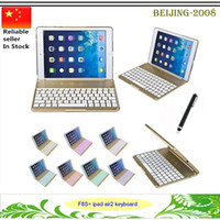 Wholesale Colorful Keyboard Tablet Covers - F8S+ Keyboard Protective Bluetooth stand case For Apple iPad Air 2 Tablet Luxury Aluminium Folio cover With Colorful Backlit Light 010243