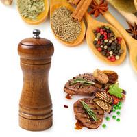 Wholesale Pepper Wood - 5 inch Classical Oak Wood Pepper Mill Grinder Set Handheld Seasoning Mill Grinder Creative Cooking Tools