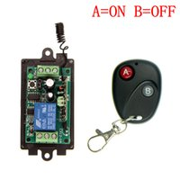 Wholesale Dc Remote Controls - DC 9V 12V 24V 1 CH 1CH RF Wireless Remote Control Switch System,315 433.92 MHZ Transmitter + Receiver,Latched (A=ON B=OFF)