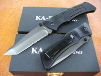 Wholesale Outdoor Aluminum Bar - Factory direct Ka-Bar Survival folding knife 440C 56HRC Tanto Serrated blade knife Outdoor Camping hiking Rescue knives EDC pocket knife