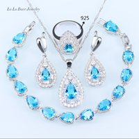 Wholesale Samples For Earrings - L&B Romantic Sky Blue Rhinestone Jewelry Sets For Women silver color 925 sample Bracelets Pendant Necklace Earrings Ring