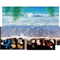 Wholesale Sand Art For Kids - 3D Sea Wave Sand Beach Palm Tree Leaves Shell Wall Stickers Living Room Bathroom Wallpaper Decor Poster Vivid Blue Sea Motif Wall Applique