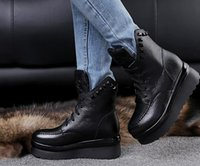 Wholesale Women S Short Leather Boots - 2016 autumn and winter thick-bed Short boots genuine leather Ankle boots women shoes slope with pineal round round Martin boots tide women s