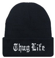 Wholesale plain beanies wholesale - THUG LIFE Cap Plain Warm Soft Beanie Skull Knitted Hat Beanies Knitted Elastic Cap Skull Caps OOA2602
