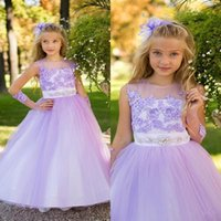 Wholesale beautiful ivory flower girl dresses resale online - Beautiful Lavender Flower Girl Dresses For Wedding Lace Applique Jewel Sleeveless Beaded Tulle Girls Pageant Gowns Kids Formal Wear
