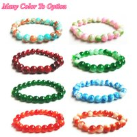 Wholesale Mixed Glass Pearl Beads 8mm - Newest Agate Baked Porcelain Bead Bracelet Mix Color 8mm Glass Round Pearl Trendy Crystal Beads Silicone Womens Stone Bracelet Gift Jewelry