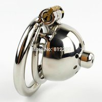 звука у мужчин оптовых-Wholesale- NEW Super Small Male Chastity Cage With Removable Urethral Sounds Spiked Ring Stainless Steel Chastity Device For Men Cock Belt