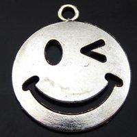 faz um sorriso venda por atacado-15 PCS Antique Silver Alloy Sorriso Bonito Rosto Charme Pingente Jóias Encontrar 22 * 26mm 39860 jóias fazendo