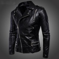 Wholesale 2017 PU Leather Motorcycle Jackets for Men Faux Leather Punk jacket Slim fit Sporty Style Men Casual Jacket Zipper Coats