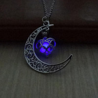 Wholesale Steampunk Lockets - Brand New Steampunk Pretty Magic Fairy Locket Glow In The Dark Moon Pendant Necklace Gift 1 Pc Free Shipping [GE04430]
