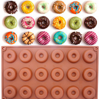 Wholesale Round Soap - 18-Cavity Silicone Mini Donut Doughnut Dessert Baking Mold Round Shaped Cake Chocolate Candy Soap Mould Biscuit Cupcake Mold